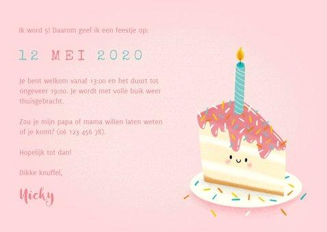 Lieve uitnodiging kinderfeestje met taartje, foto & leeftijd 3