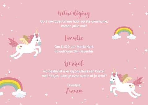 Lieve uitnodiging voor eerste communie met eenhoorns 3