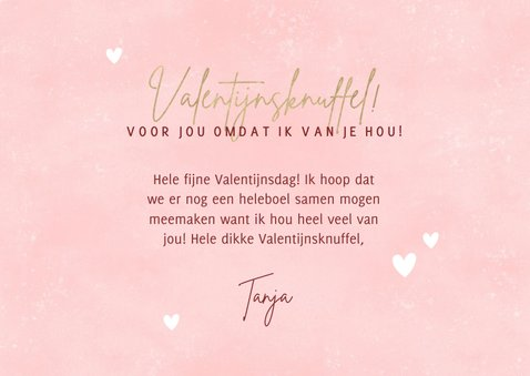 Lieve Valentijnskaart met foto's Valentijnsknuffel & hartjes 3