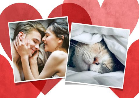 Lieve valentijnskaart met rode, roze hartjes en foto 2