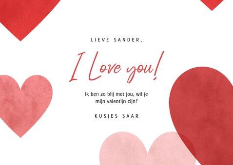 Lieve valentijnskaart met rode, roze hartjes en foto 3