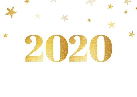 Liggende kerstkaart 2020 met foto ruit en sterren 2