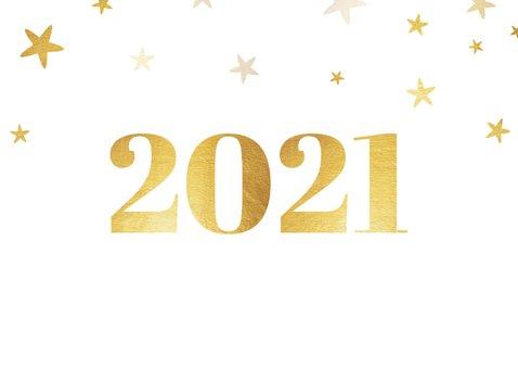 Liggende kerstkaart 2021 met foto ruit en sterren 2