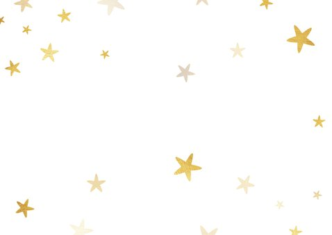 Liggende kerstkaart 2021 met foto ruit en sterren Achterkant