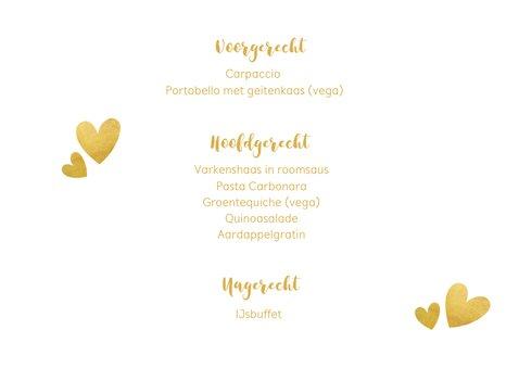Liggende menukaart voor een huwelijk met gouden stippen 3