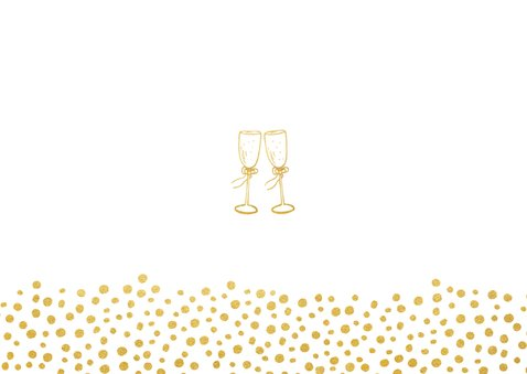 Liggende menukaart voor een huwelijk met gouden stippen Achterkant