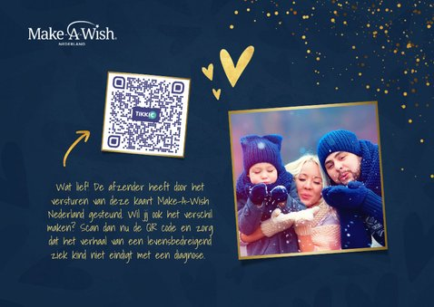 Make-A-Wish kaartje kerstknuffel met gouden hartjes 2