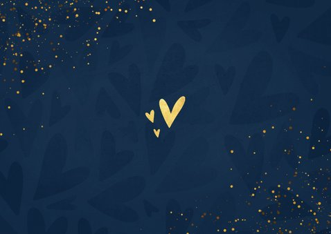 Make-A-Wish kaartje kerstknuffel met gouden hartjes Achterkant