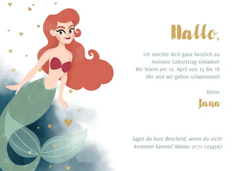 Meerjungfrau-Einladung Kindergeburtstag Foto 3