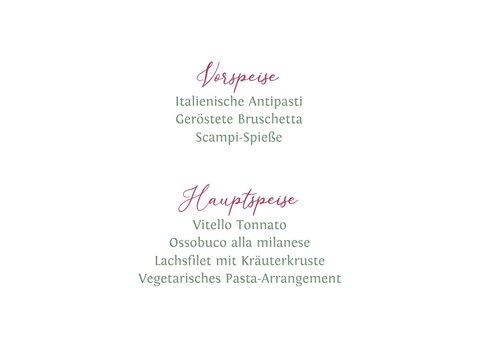 Menue-Karte Hochzeit mit Hibiskus 2