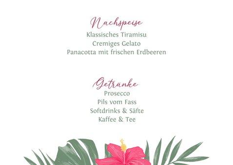 Menue-Karte Hochzeit mit Hibiskus 3