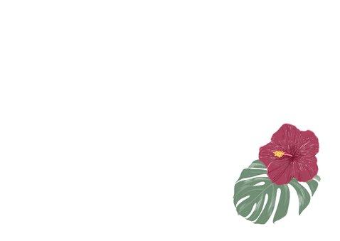 Menue-Karte Hochzeit mit Hibiskus Rückseite