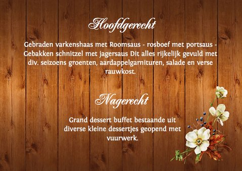 Menukaart houtprint romantische bloemen 3