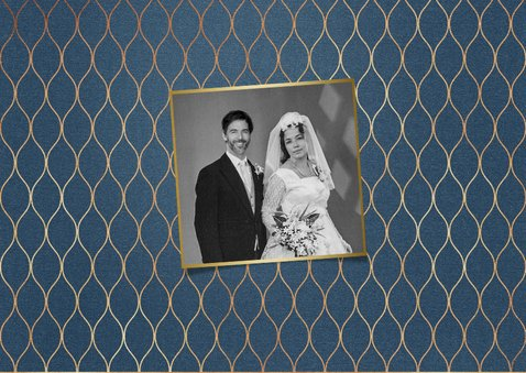 Moderne Jubiläumskarte zum 50. Hochzeitstag mit Fotos 2