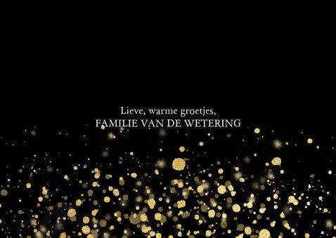 Moderne kerstkaart fotocollage met gouden confetti 3