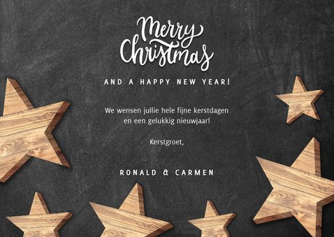 Moderne kerstkaart houten sterren en Merry Christmas 3