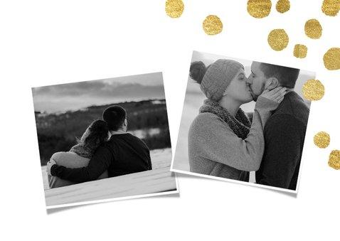 Moderne kerstkaart met goudlook confetti en foto 2
