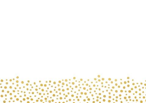 Moderne Save the Date kaart met gouden letters en hartjes Achterkant