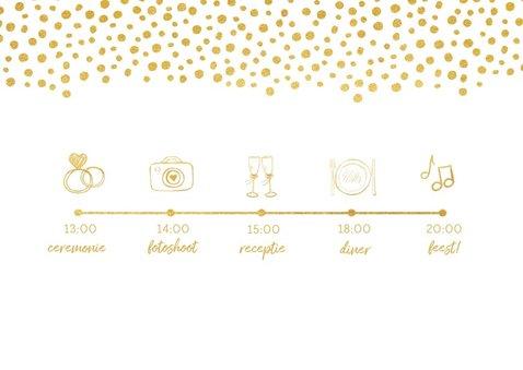 Moderne trouwkaart wij gaan trouwen met gouden stippen 2
