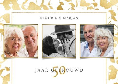 Moderne uitnodiging jubileum gouden planten kader & foto's 2