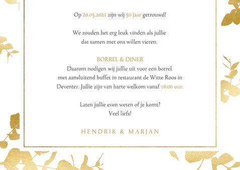 Moderne uitnodiging jubileum gouden planten kader & foto's 3