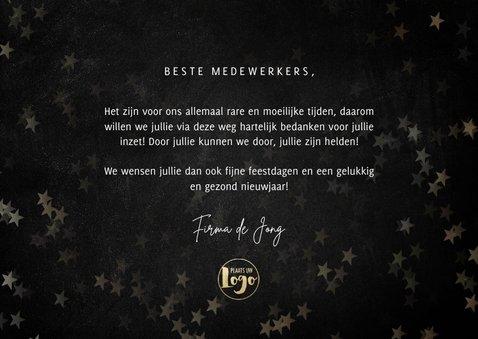 Moderne zakelijke kerstkaart bedankt helden, gouden sterren 3
