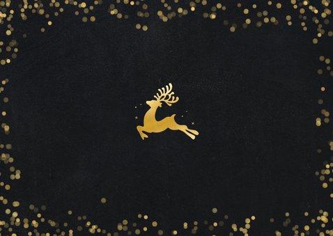 Moderne zakelijke kerstkaart met silhouet rendier in goud Achterkant