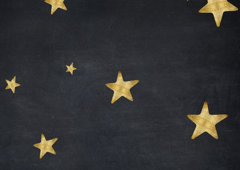 Moderne zwarte kerstkaart met gouden sterren en eigen foto's Achterkant