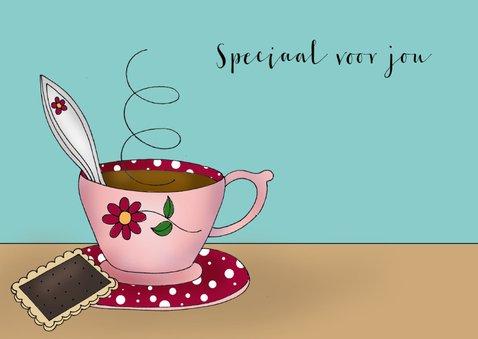 Moederdag kaart Kat drinkt thee of koffie 3