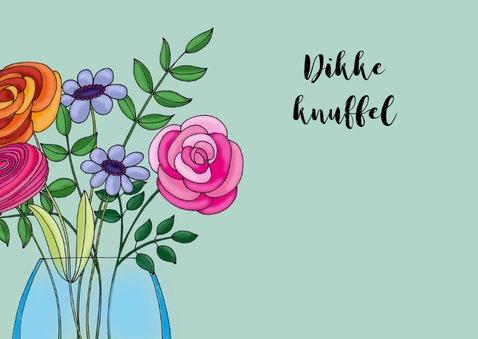Moederdag kaart Kat met vaas bloemen - SK 3