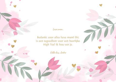 Moederdag tegoedbon bloemen, takjes, hartjes en waterverf 3