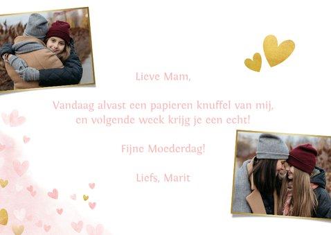 Moederdagkaart - Dikke knuffel voor mama met roze hartjes  3