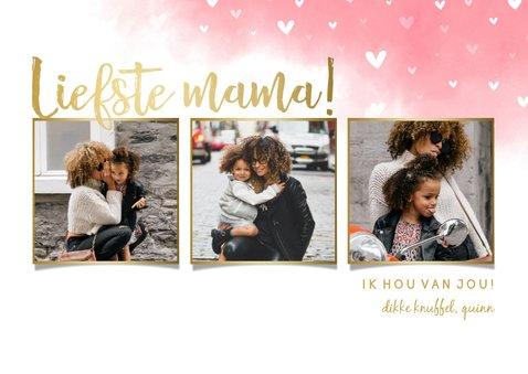 Moederdagkaart 'liefste mama!' fotocollage met hartjes 2