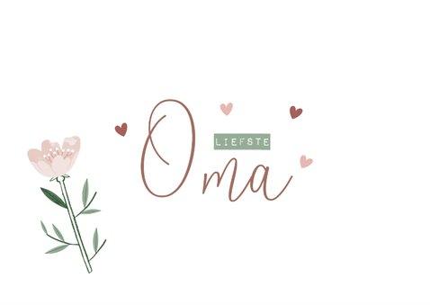 Moederdagkaart liefste oma met roze bloemen en hartjes 2