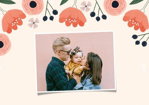 Moederdagkaart roze bloemen, liefste mama en foto 2
