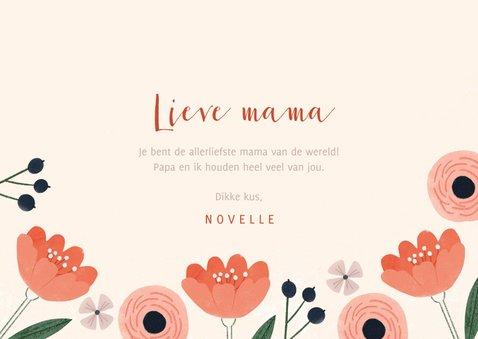 Moederdagkaart roze bloemen, liefste mama en foto 3