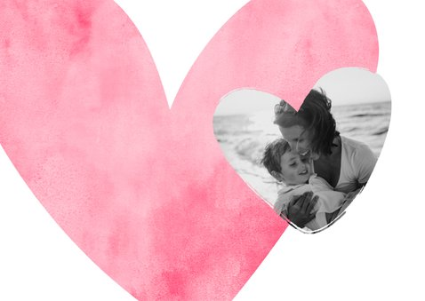 Moederdagkaart roze hart met foto in hartje 2