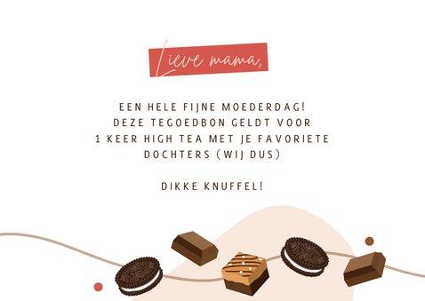 Moederdagkaart tegoedbon met illustraties van chocolade 3