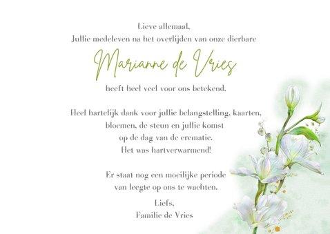 Mooie bedankkaart met witte bloemen op waterverf 3
