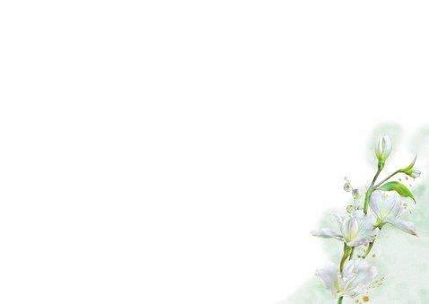 Mooie bedankkaart met witte bloemen op waterverf Achterkant