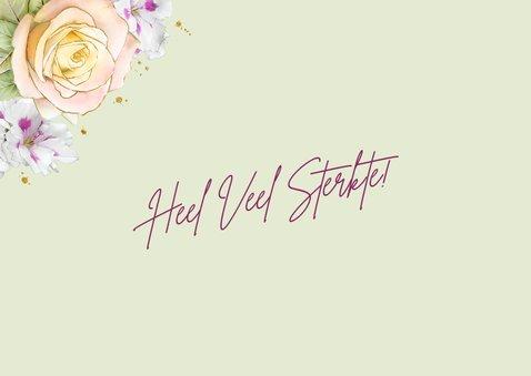Mooie beterschapskaart met bloemen zoals rozen op waterverf 2