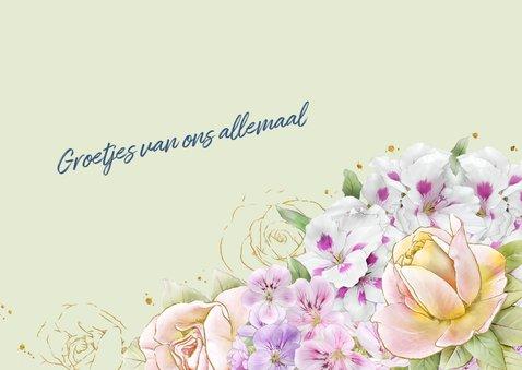 Mooie beterschapskaart met bloemen zoals rozen op waterverf 3