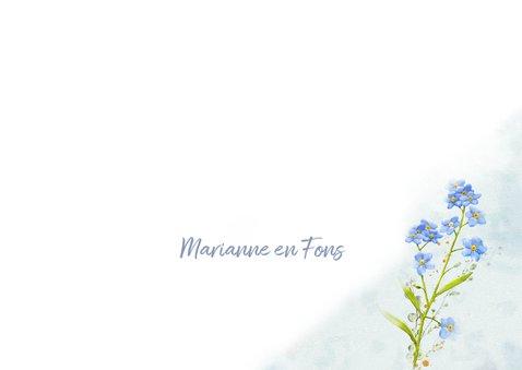 Mooie condoleancekaart met bloemen Vergeet mij nietjes 3