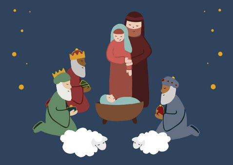 Mooie kerstkaart illustratie geboorte Jezus 3