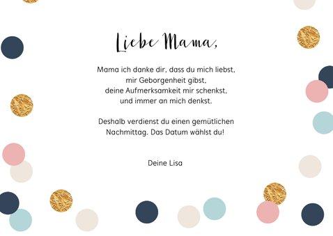 Muttertagskarte Gutschein mit Konfetti 3