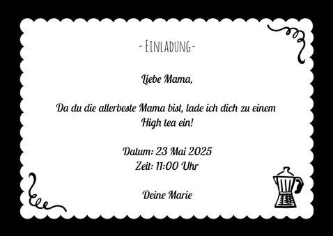 Muttertagskarte High tea Einladung schwarz weiß 3