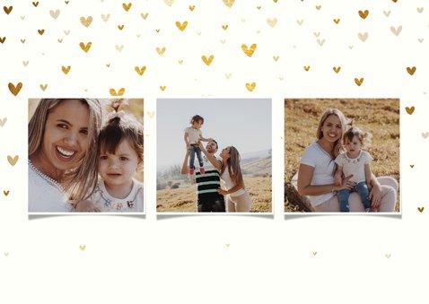 Muttertagskarte 'Liebste Mama!' drei Fotos und Herzen 2