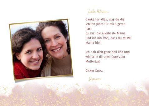 Muttertagskarte rosa Aquarelllook mit Foto innen 3