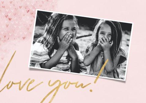Muttertagskarte rosa eigenes Foto und Herzchen 2