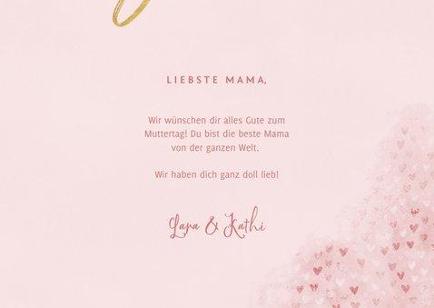 Muttertagskarte rosa eigenes Foto und Herzchen 3